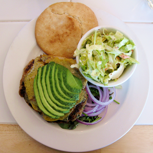 Veggie Burger with Cole Slaw and a gluten-free bun