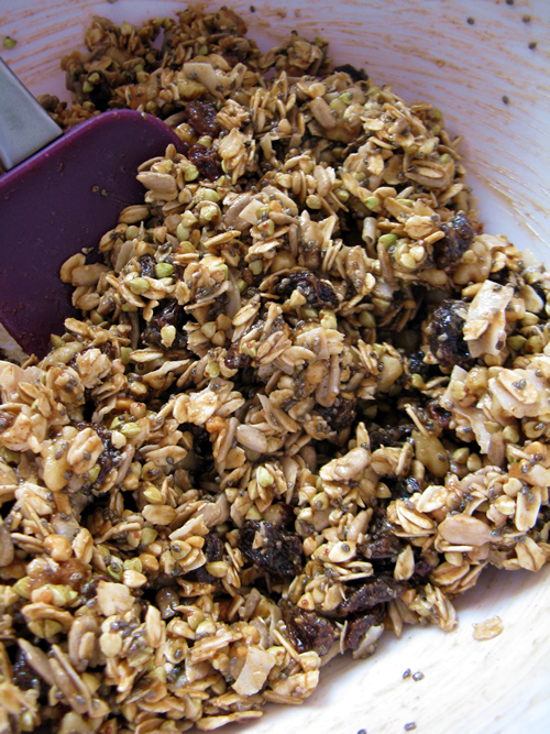 Raw granola in the mix