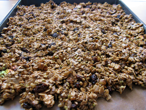 Granola ready to cook.